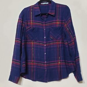 Maurices Metallic Plaid Button Up Shirt, sz L